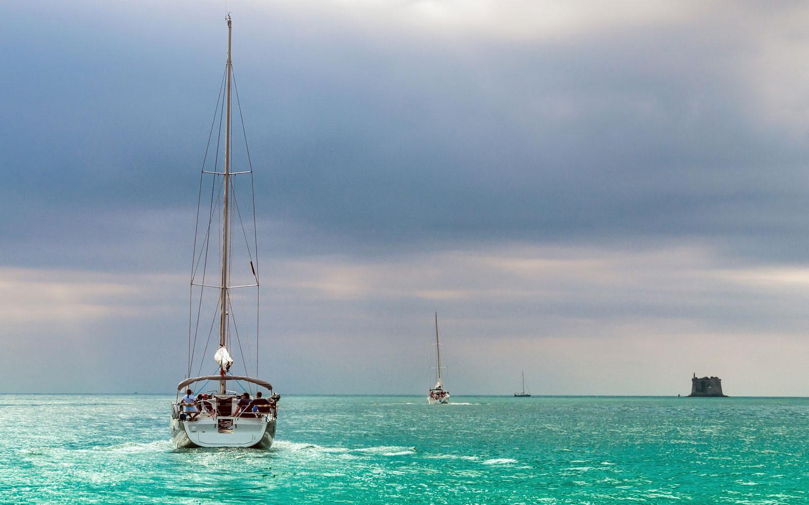 boat-in-a-azure-sea